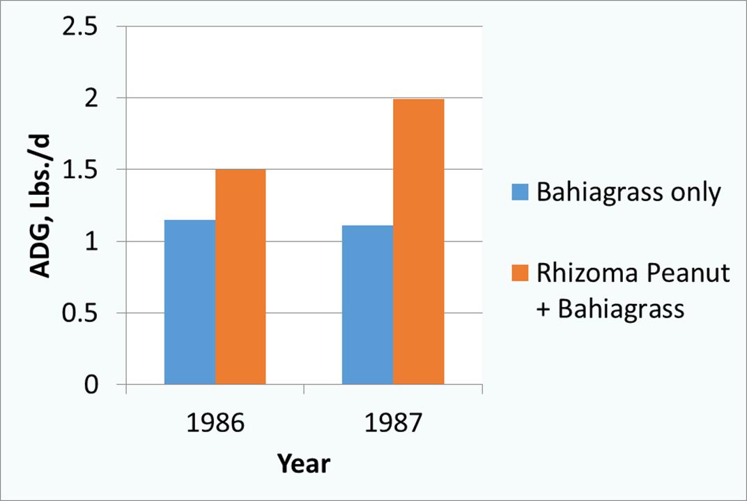 Figure 1. Average daily gain (ADG) of cattle grazing bahiagrass or bahiagrass/rhizoma peanut pastures (Williams et al., 1991).