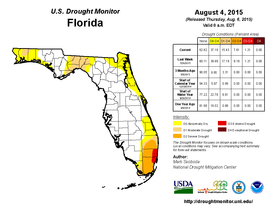 8-4-15 FL Drought Monitor