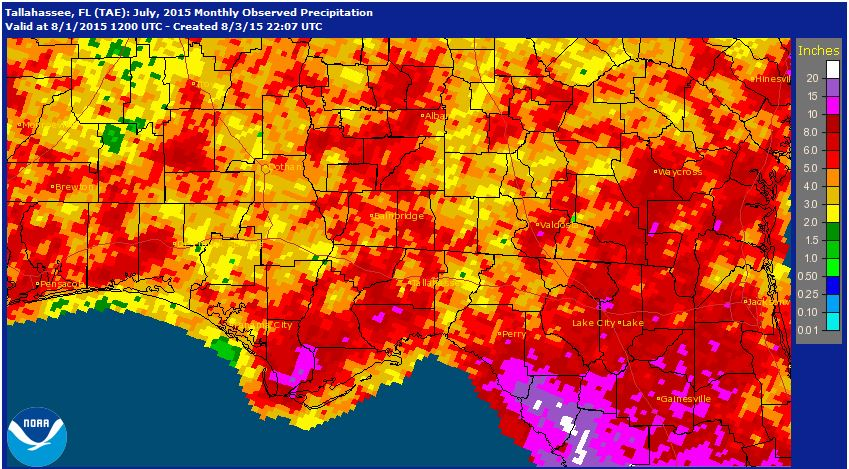 National Weather Service estimates for rainfall in July 2015 across the Panhandle.