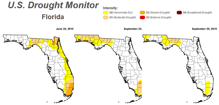 FL Drought Monitor Transition July-September 15