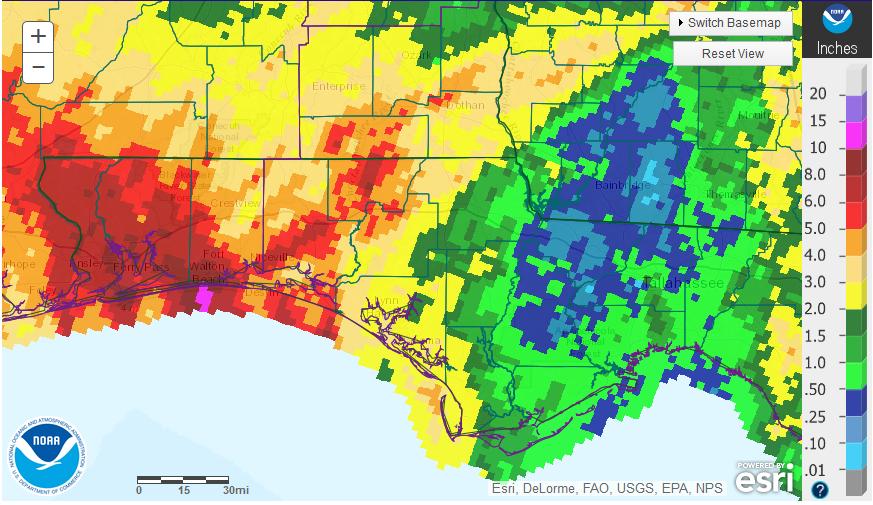 NWS Oct 15 Rainfall