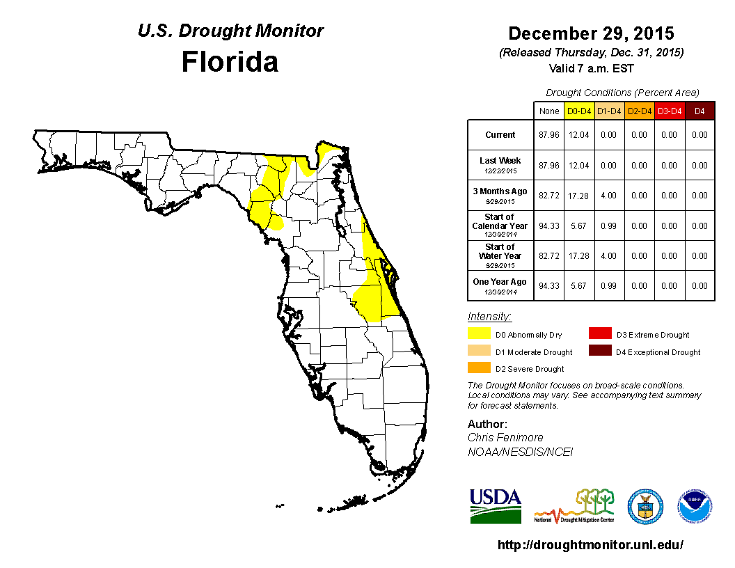 Dec 29 2015 FL Drought Monitor