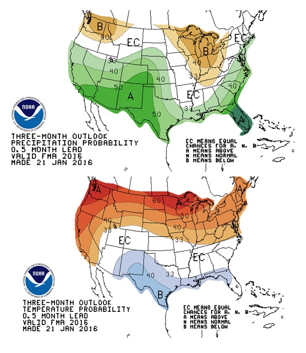 Fig. 1: The 90 day (February, March and April) seasonal weather outlook for temperature and weather probabilities in the United States provided by the National Oceanic and Atmospheric Administration (NOAA). Figures were copied from the Agroclimate website (http://agroclimate.org/forecasts/Seasonal-Forecast/, accessed on 1/28/2016)