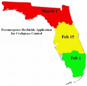 Recommended preemergence herbicide application date under normal Florida weather conditions. Source: EDIS ENH1134