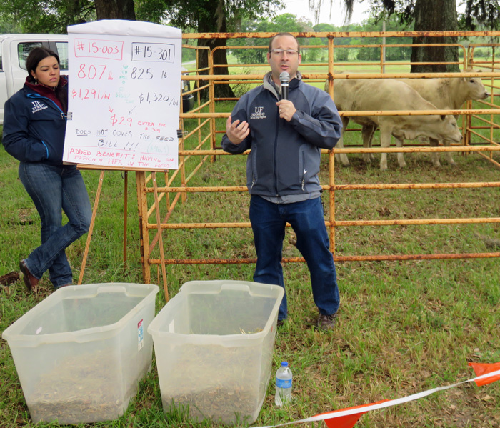 Nicolas DiLorenzo shared prodction records for two heifers that had been evaluated for feed efficiency. Photo credit: Doug Mayo