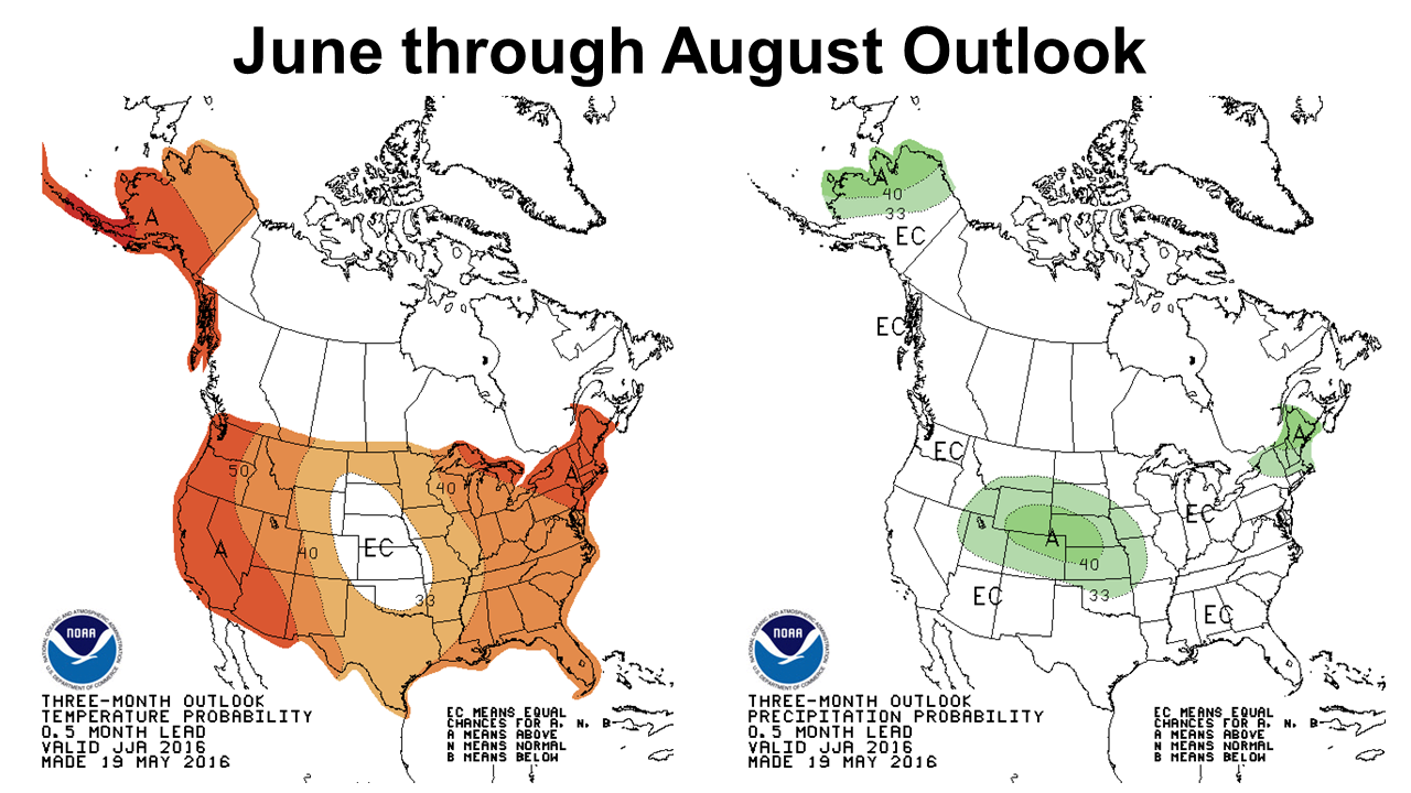 Climate Prediction Center's outlook for June through August weather.