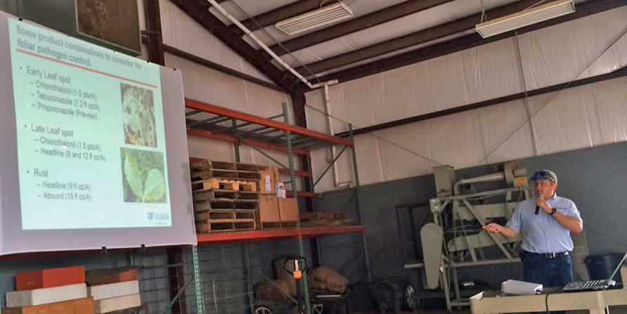 Dr. Nick Dufault speaking to attendees on fungicides and disease management. Photo by Bob Kemerait