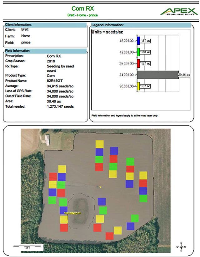 Figure 3. An example of the prescription map you'll get back from the dealer. This information will be on the USB drive, so your planter will automatically plant the correct populations in each area.