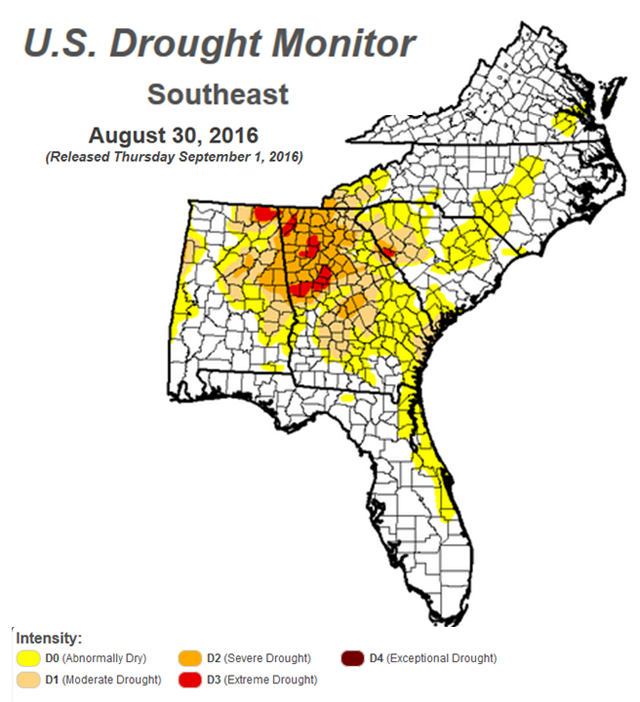 8-30-16 SE Drought Monitor