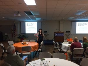 Dr. Violeta Tsolova presenting about grape varieties at the Panhandle Fruit & Vegetable Conference. Photo Credit: Matt Orwat, UF/IFAS Extension.