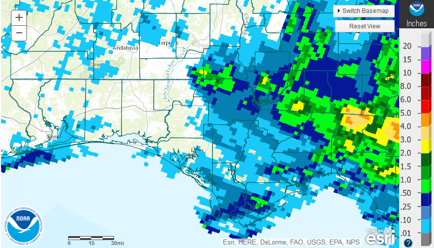 Source: National Weather Service estimates for rainfall in the Florida Panhandle.