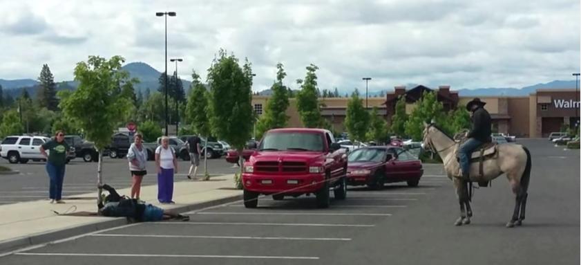 Friday Funny:  Cowboy Ropes Bike Thief at Walmart