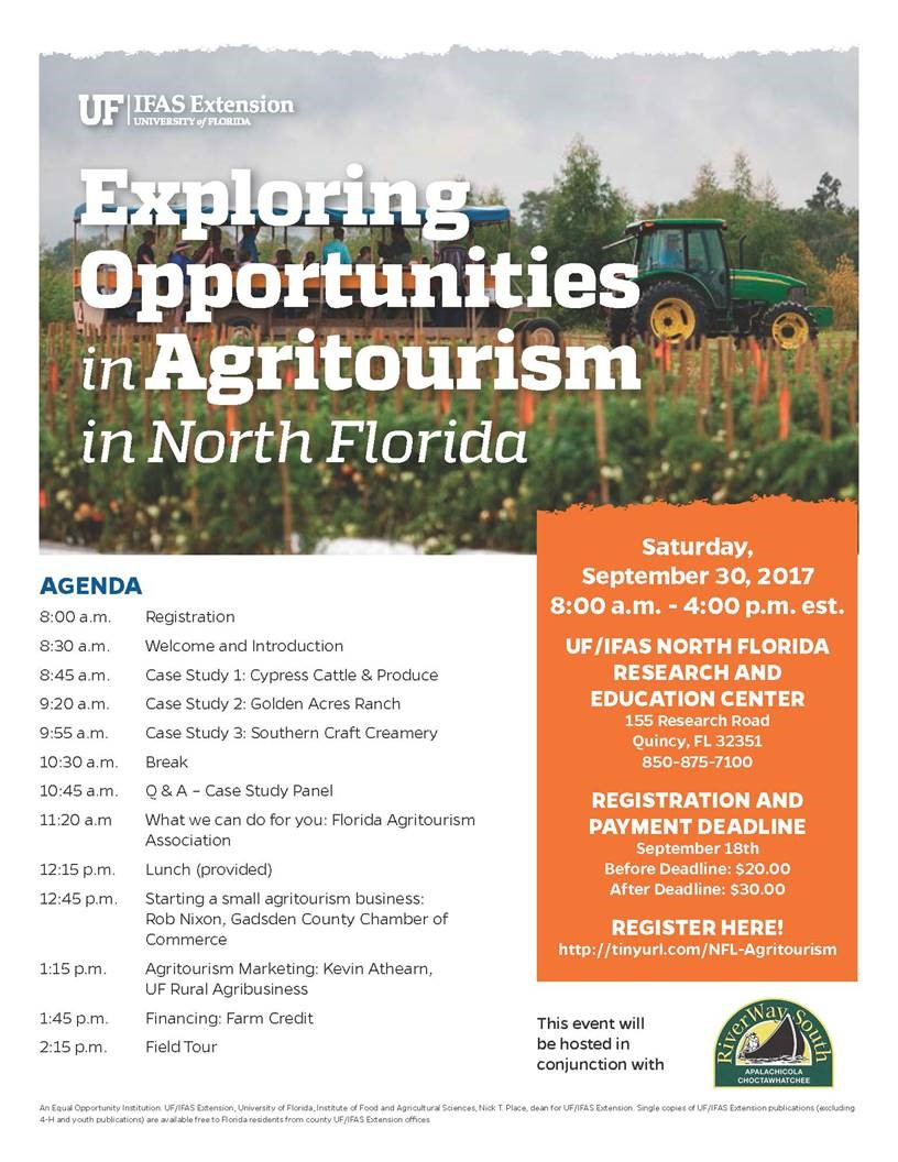 Exploring Opportunities in Agritourism in Northwest Florida Sept. 30th       ………