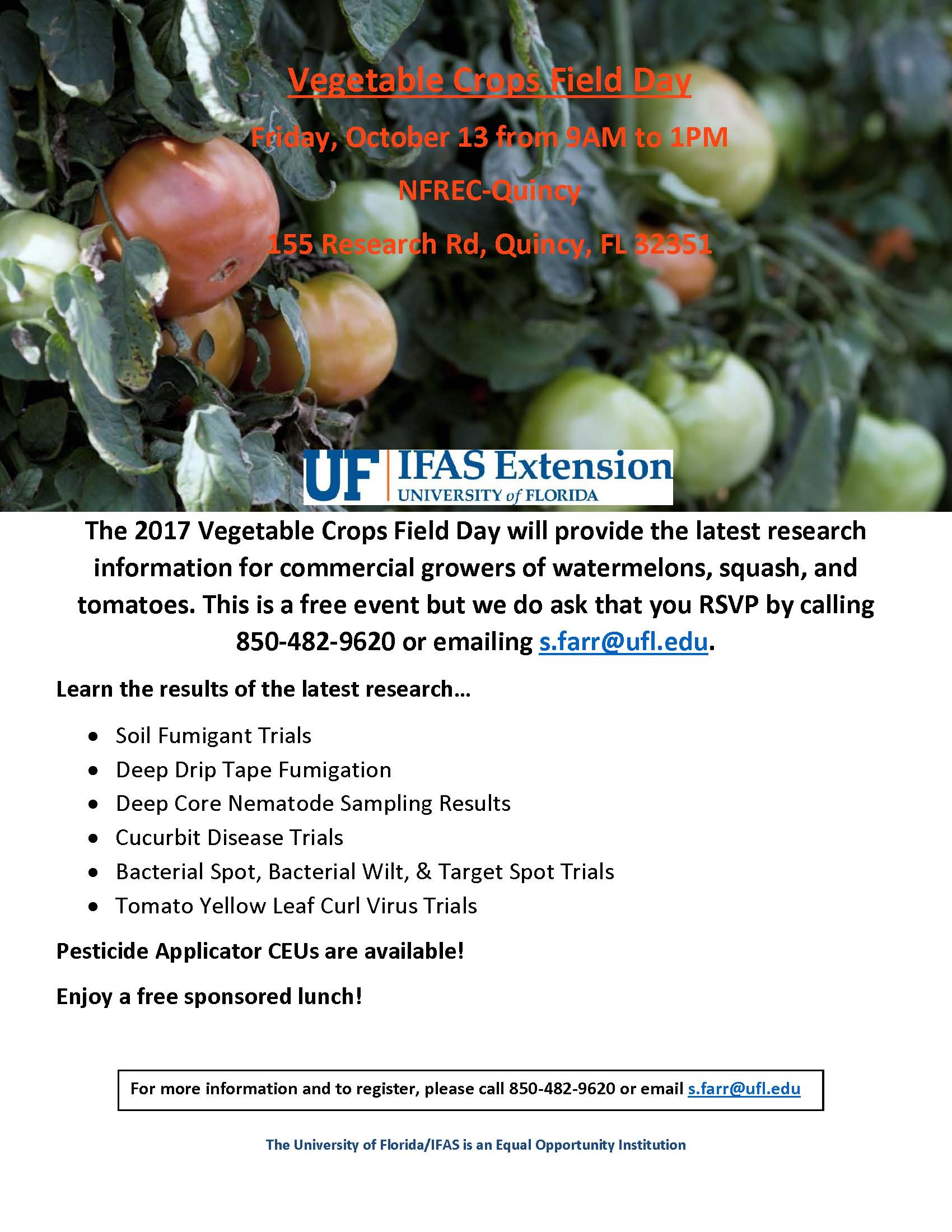 Vegetable Crops Field Day – October 13th ………..