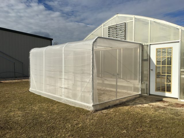 An insect screen room on the outside of a greenhouse.