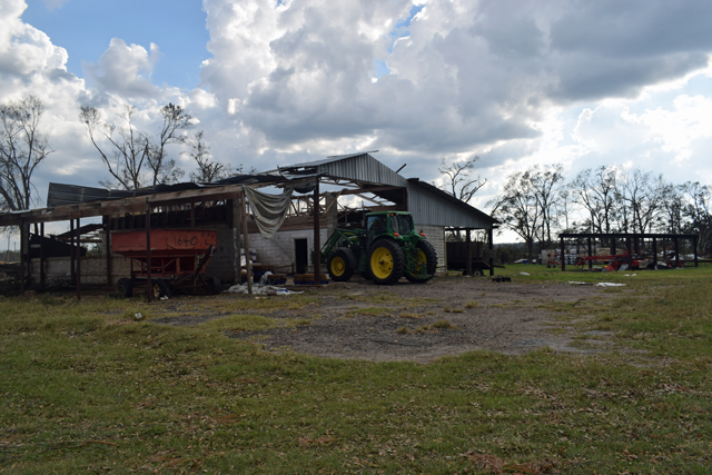 Jackson County Feed Barn Damaged by Hurricaned Michael
