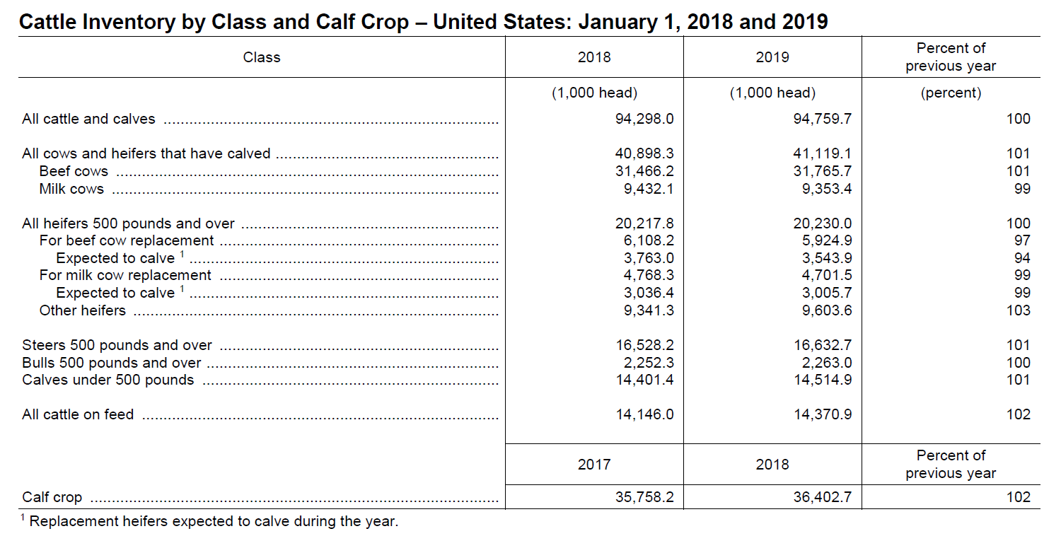 2019 Cattle Invenory Change by Class