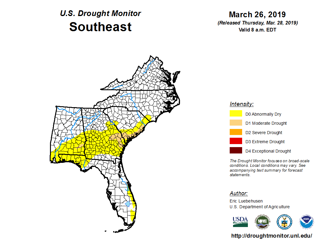 March 26, 2019 SE Drought Monitor