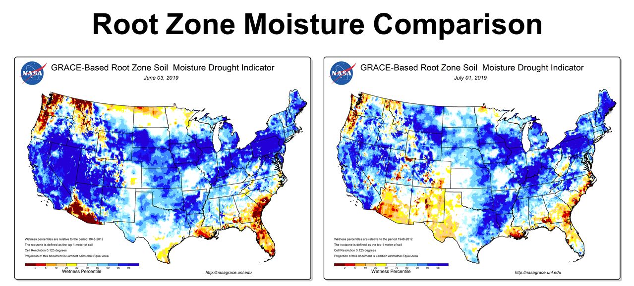Root Zone Moisture Comparison May to June