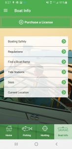 Screenshot of the Boat Info screen from the Hunt|Fish Florida App.