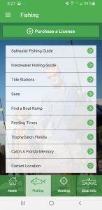 Screenshot of the Fishing screen from the Hunt|Fish Florida App.