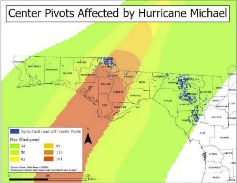 Hurricane Michael Center Pivot Damage Map