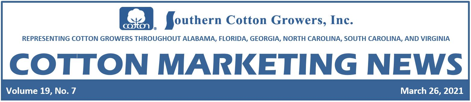 March 26 2021 Cotton Marketing News Header