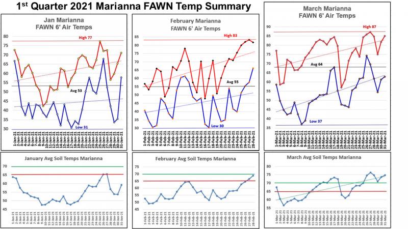 1st Quarter 2021 Marianna FAWN Temp Summary