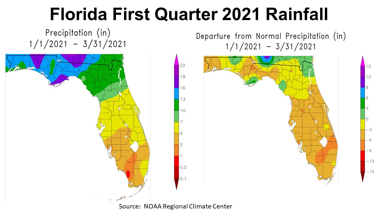 1st Quarter 2021 Rainfal vs Normal