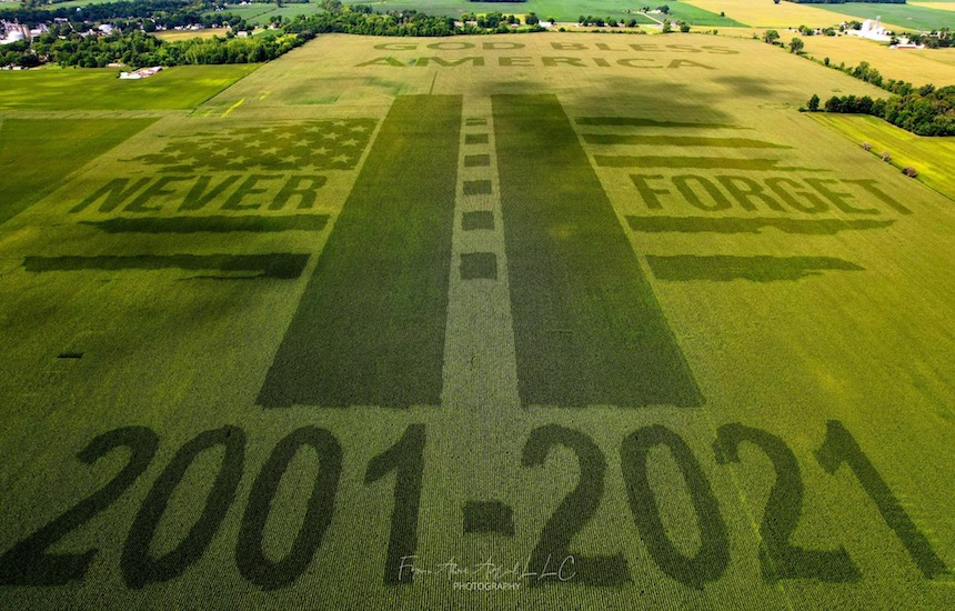 Friday Feature:  Farmer Grows Crop Art Tribute to 9/11 20th Anniversary