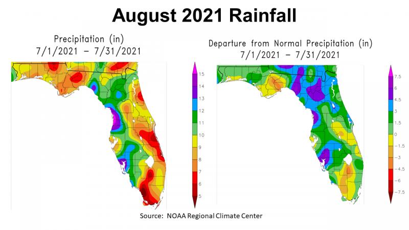 August 2021 NOAA Rainfall in Florida vs Normal