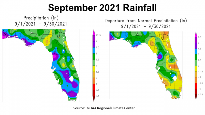 September 2021 NOAA Rainfall in Florida vs Normal