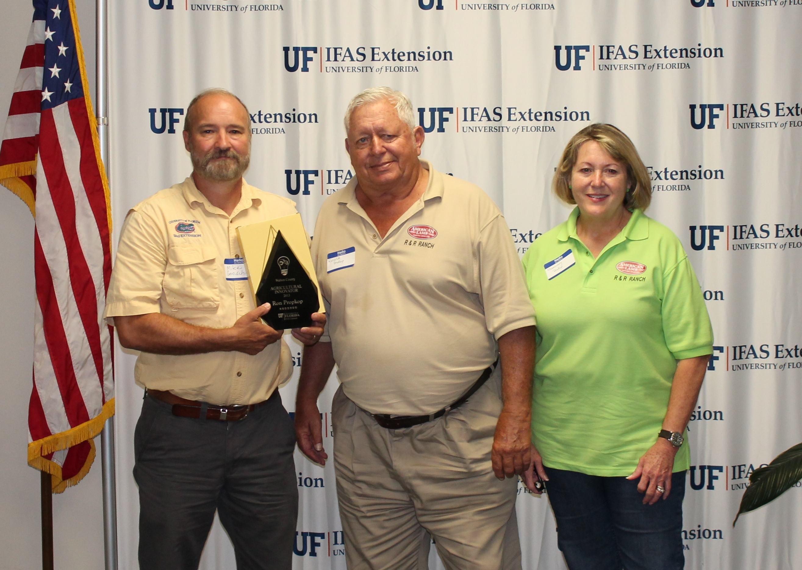 (From Left to Right) Walton County Extension Director Mike Goodchild, and Ron and Rosemary Prokop of R&R Ranch